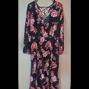 Forever 21 Plus Floral Lace up Maxi Dress 1X